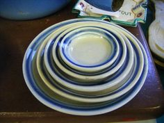 Set of Five 5 Vintage Nesting Blue and White Ringed by parkledge, $20.00