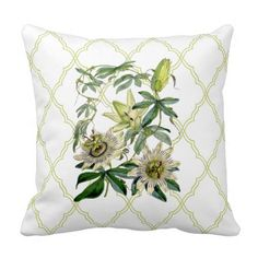 Passion Vine Throw Pillows by EnKore -This traditional vintage beauty is a must have. The passion vine is exquisitely accented by the large scale lime green lattice.
