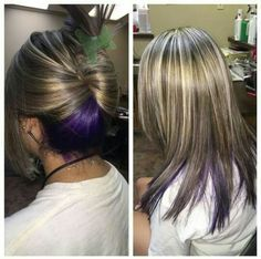 Purple peekaboo and highlights hair by kenna mac pinterest purple peek a boo highlights solutioingenieria Image collections