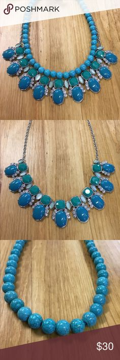 Lia Sophia Statement Necklace - turquoise Three in one statement necklace. Gorgeous colorful piece. Wear all together or each piece separate. Lia Sophia Jewelry Necklaces