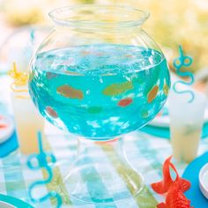 Fish Bowl Gelatin use this recipe but add some jelly beans for rocks! :)