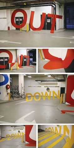 Weird & Wonderful Wayfinding: 3D Parking Garage Signage      This colorful Eureka Tower Carpark signage by Axel Peemoeller is either brilliant or distracting, or perhaps both.    From the right angle, messages emerge from seemingly-random lines scrawled along the walls, telling one where to go in, up, down or out as they drive or walk through the structure.