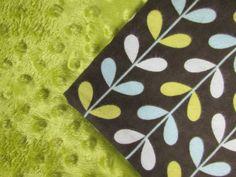 Baby Blanket Handmade Leaf Print Flannel and Minky Personalized Blanket Baby Shower Gift Stroller Blanket