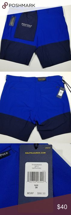 New Polo Golf Mens Shorts Ralph Lauren Size 38 Blu Ralph Lauren mens golf shorts. Two toned blue. Back pocket zippers. comes with Polo Golf draw string bag. Polo by Ralph Lauren Shorts Athletic