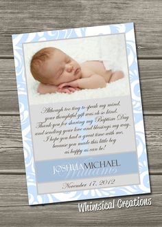 Baptism Thank You Card Christening Thank by WhimsicalCreationsPC, $14.99