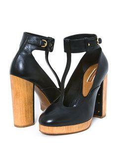 Black leather anklet wrap heels