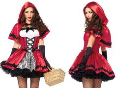 Description #85230 Includes a Satin and brocade peasant dress with woven ribbon venetian lace trim and matching hooded cape. Gloves and basket not included. Siz