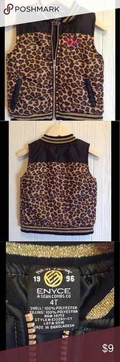 Toddler Girls Enyce Animal Print Vest Size 4T NWOT This is a new, without tags, toddler girls vest from Enyce A Sean Combs Co. It is a brown and black animal print pattern. Very stylish! Size 4T. Sleeveless. Enyce Jackets & Coats Vests