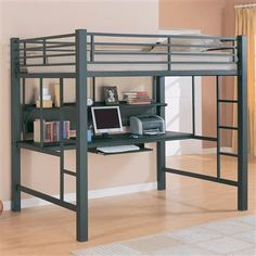 IKEA loft bed with desk - Metal bunk beds are much more popular than they once were warned. However, that the metal bunk beds require much more frequent Bunk Bed With Desk, Loft Bunk Beds, Modern Bunk Beds, Bunk Beds With Stairs, Kids Bunk Beds, Desk Bed, Pc Desk, Modern Loft, Full Size Bed Mattress