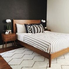 Amazing Bright Trendy Mid Century Modern Bedroom Decor Ideas - Home Design Apartment Bedroom Decor, Modern Bedroom Furniture, Modern Bedroom Design, Contemporary Bedroom, Bedroom Designs, Ikea Bedroom, Antique Furniture, Wooden Furniture, Modern Bedding
