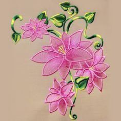 Embroidery Designs Machine Lily lace free machine embroidery design More - Learn Embroidery, Silk Ribbon Embroidery, Crewel Embroidery, Vintage Embroidery, Embroidery Patterns, Flower Embroidery, Embroidery Hoops, Geometric Embroidery, Embroidery Jewelry