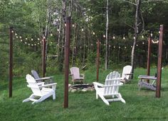 feat DIY easy outdoor string lighting posts around a fire pit and seating area…