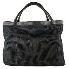 chanel mesh beachbag black ch70