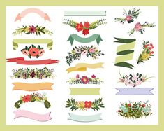 Floral Ribbons & Bouquets  Graphics and Clip Art for Wedding Suites and Blog graphics https://www.etsy.com/listing/196845702