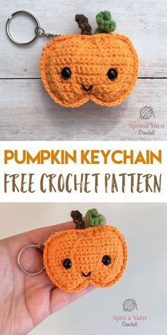 Amigurumi Crochet Pumpkin Keychain - Spin a Yarn Crochet - Hey all! Just popping into your feeds today with a quick Fall project that you can whip up in an… Crochet Pour Halloween, Halloween Crochet Patterns, Free Form Crochet, Crochet Simple, Crochet Patterns Amigurumi, Crochet Dolls, Crochet Yarn, Crochet Applique Patterns Free, Crochet Kawaii