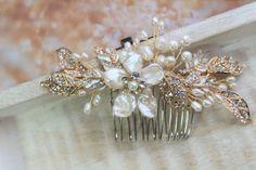 Pearl Bridal Headpiece,Wedding Hair piece ,Bridal Hair comb ,Bridal Hair piece,Flower fascinator,Wedding Accessory,Gold  Pearl Headpiece