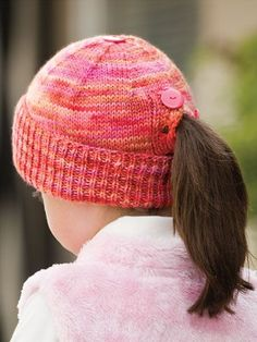 Knitting Pattern for All Buttoned Up Beanie - One skein hat that buttons up the back to show off your child's or teen's ponytail.