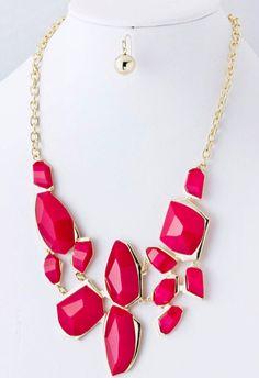Jewel Bib Necklace Set at PinkWasabiShop.com