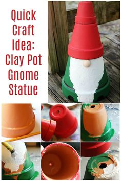 I can't wait to make this terra cotta clay pot gnome for my porch! Spring just calls for a little DIY garden gnome statue refresh. Click here to see how she makes this clay pot gnome super fast! Clay Flower Pots, Flower Pot Crafts, Clay Pot Crafts, Clay Flowers, Shell Crafts, Flower Pot People, Clay Pot People, Quick Crafts, Diy Crafts