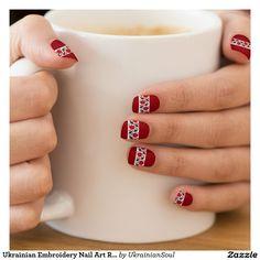 "CLICK ""MINX"" TO PURCHASE Ukrainian Embroidery Nail Art Red Roses Band Minx® Nail Art"