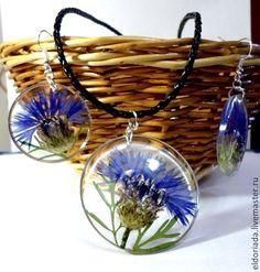 Купить Васильковое лето - васильки, настоящие васильки, серьги с васильками, кулон с васильками, украшение с васильками