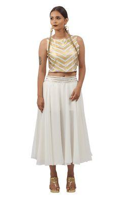 White & Golden Foiled Chevron Bahubali 2 Crop Top & Silky Flared Skirt