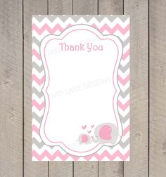elephant baby shower handmade thank you card by designingmoments