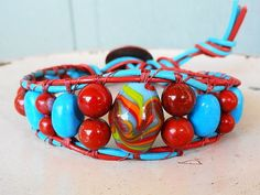Turquoise Red Jasper and Focal Bead Double Leather Single Wrap Bracelet $34.95