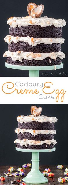 A rich chocolate cake with a delicious Cadbury Creme Egg frosting. The perfect treat for Easter! | livforcake.com