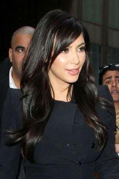 Kim Kardashian hair side bang