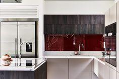 ALNO kitchen with red glass splahback. By Phil Harflett. Alno Kitchen, Kitchen Cabinets, Kitchen Showroom, Stylish Kitchen, Splashback, Red Glass, Color Pop, Colour, Bristol