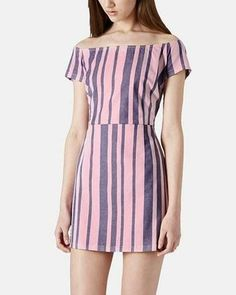 Love this pink stripe off the shoulder dress by Topshop.