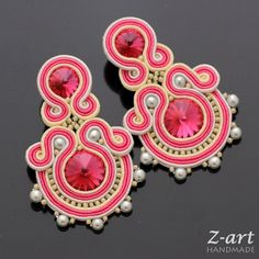 Sutaškové náušnice Elsea / Zboží prodejce Z-ART handmade Fabric Earrings, Tassel Earrings, Shibori, Earrings Handmade, Handmade Jewelry, Soutache Tutorial, Soutache Necklace, Bijoux Diy, Beading Projects