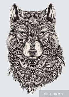 Highly detailed abstract wolf illustration Wall Mural ✓ Easy Installation ✓ 365 Days to Return ✓ Browse other patterns from this collection! Wolf Illustration, Wolf Tattoos, Mandalas Drawing, Mandala Art, Zentangles, Wolf Tattoo Meaning, Abstract Wolf, Tattoo Abstract, Marquesan Tattoos