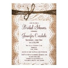 Rustic Country Burlap Bridal Shower Invitations (Here'one that's more of a country theme. -Julie)