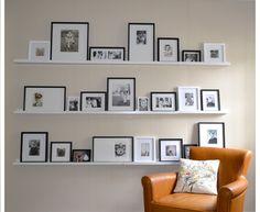 Photo wall on ledges l jamiekrywickiwilson.com