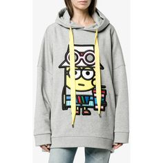 Mira Mikati Tourist Minion Embroidered Hooded Sweatshirt ($677) ❤ liked on Polyvore featuring tops, hoodies, minion, grey hoodies, cotton hoodies, grey top, mira mikati and gray hoodies
