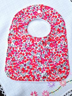 Liberty bib in red berry - towel backed by YumyumHome on Etsy https://www.etsy.com/listing/221188418/liberty-bib-in-red-berry-towel-backed