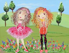 Friends Always from my whimsical girls artworks by Peta E. More info about me at my website www.petae.com.au