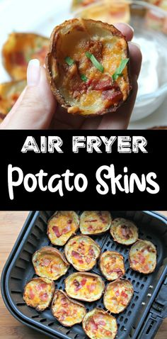 Just as crispy and delicious as the deep fried version you find at restaurants. These potato skins are prepared in the air fryer. So much easier than deep frying. Filled with cheese and bacon and topped with sour cream (optional). These potato skins make a tasty party or holiday appetizer, side dish to dinner next to a juicy steak or even an after school snack. Best Appetizers, Appetizer Recipes, Snack Recipes, Water Recipes, Yummy Recipes, Snacks, Side Dish Recipes, Asian Recipes, Beef Recipes