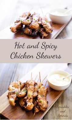 Hot and Spicy Chicken Skewers. These skewers pack a delicious and spicy punch. Perfect for game night or as footie snacks, all washed down with a cold beer!