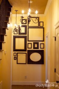 """""""Add interest to a wall at the end of a hall with assorted empty frames..."""" I would so do this if the end of my hall weren't cupboards. :\"""