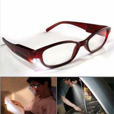 974cfa0b773 Hand Free Flashlight Night Book Light Super Bright LED Reading Readers  Glasses +2.50 Full Frame
