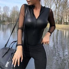 2018 Female sexy pvc mesh bodysuits oversized combinaison romper long sleeve  perspectiverricdress Cheap Bodysuits e69b974e3