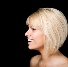 Cute angled bob with bangs!  | followpics.co