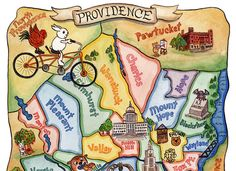 Map of Providence Rhode Island Art Illustration by SepiaLepus, $28.00