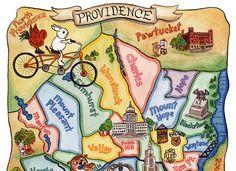 "Map of Providence Rhode Island Art Illustration Print 11"" x 14"""