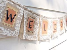 """Burlap and lace is a lovely combination. Add any color from nature you wish and create a beautiful banner saying """"Eid Mubarak."""" burlap lace bunting by SashaPearl Wedding Signs, Diy Wedding, Rustic Wedding, Lace Wedding, Dream Wedding, Wedding Ideas, Wedding Stuff, Burlap Bunting, Burlap Lace"""