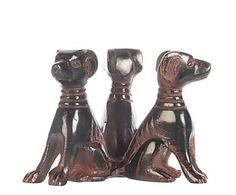 Figura en madera de mahogani Galgos - bronce