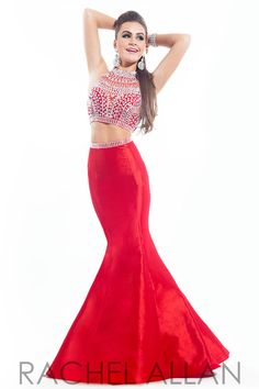 Two-piece taffeta prom dress with a heavily beaded bodice and mermaid skirt by Rachel Allen